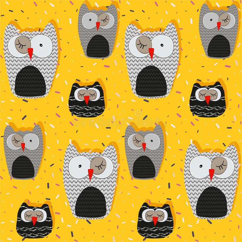 Sister owls seamless pattern on a background decorated with colored confetti- vector. Sister owls seamless pattern on a background decorated with colored vector illustration