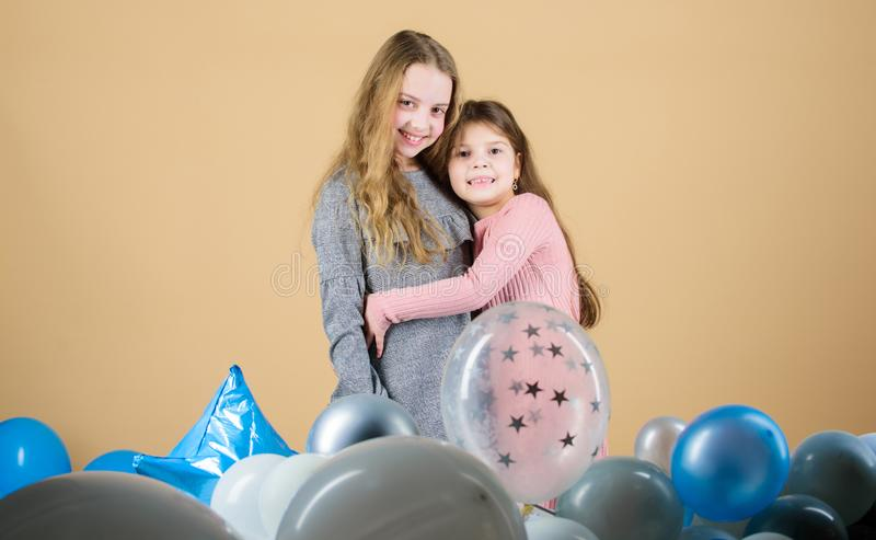 Sisterhood concept. Friendly relations siblings. Family love. Happy feeling love. Awesome to have loving sister. Sincere royalty free stock photos