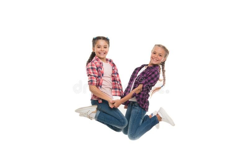 Sisterhood goals. Sisters together isolated white background. Sisterly relationship. Sisterhood is unconditional love stock images