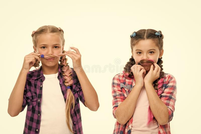 Sisterhood goals. Sisters together isolated white background. Sisterly relationship. Sisterhood is unconditional love. Girls playful sisters having fun with royalty free stock photo