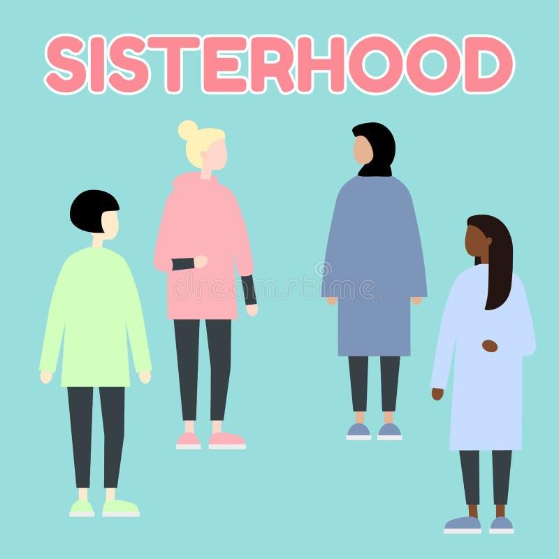sisterhood Multietniska diverceloppkvinnor J?mst?lldhet feminism Upps?ttning av kvinnliga st?ende Plan redigerbar vektorillustrat royaltyfri illustrationer
