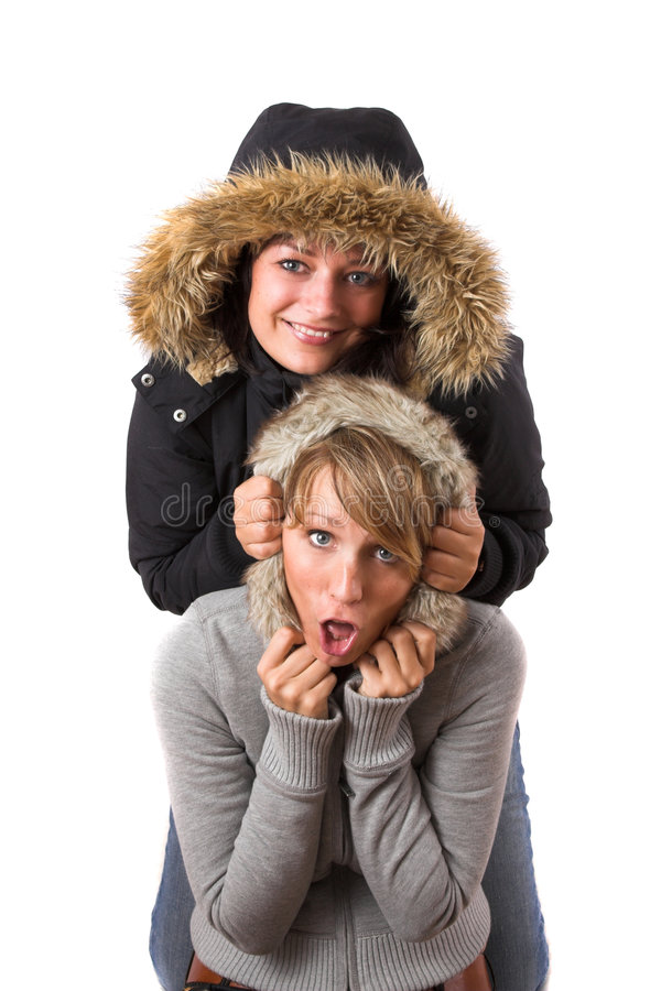 Download Sisterly fun stock image. Image of happiness, female, hood - 1424637