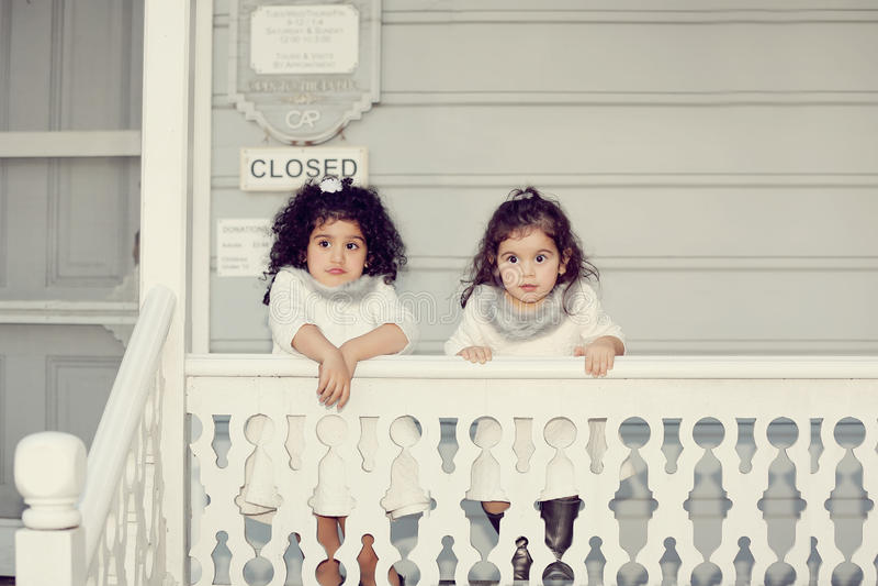 Sisters amazed stock image