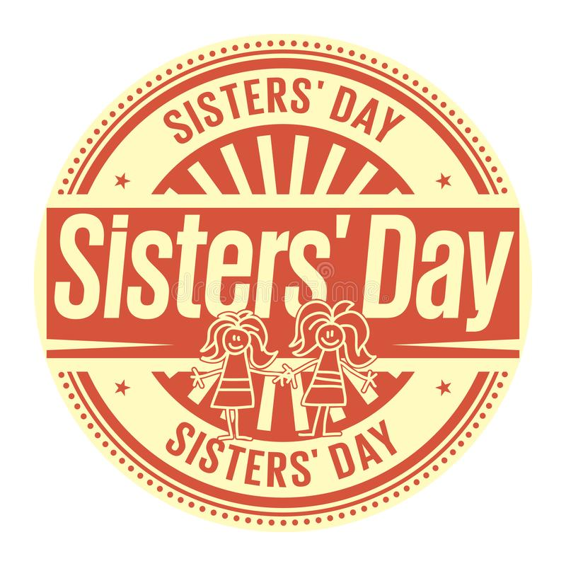 Free Sisters Day Rubber Stamp Royalty Free Stock Photography - 121264047