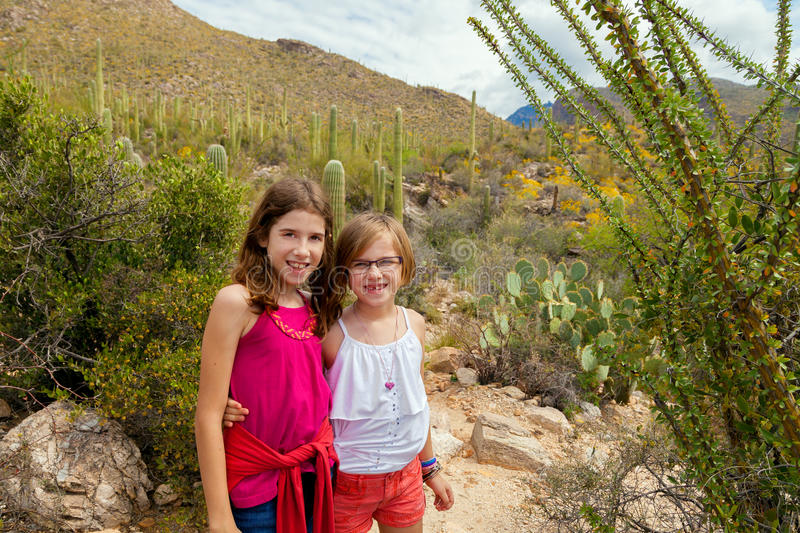 Sisters In The Desert stock photos