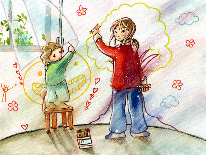 Sisters drawing on their room wall vector illustration