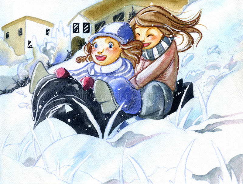 Download Sisters Having Fun On The Snow Stock Illustration - Illustration of child, drawing: 12965934