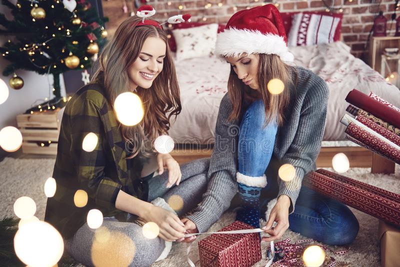 Sisters during Christmas time stock photo