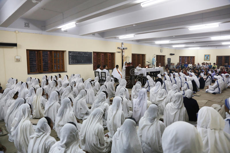 Sisters of The Missionaries of Charity at Mass in the chapel of the Mother House, Kolkata royalty free stock photo