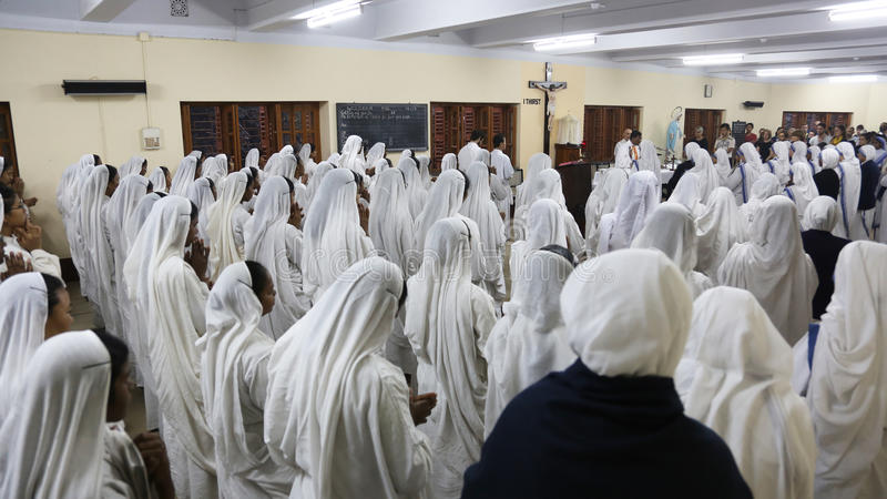 Sisters of The Missionaries of Charity at Mass in the chapel of the Mother House, Kolkata stock photos