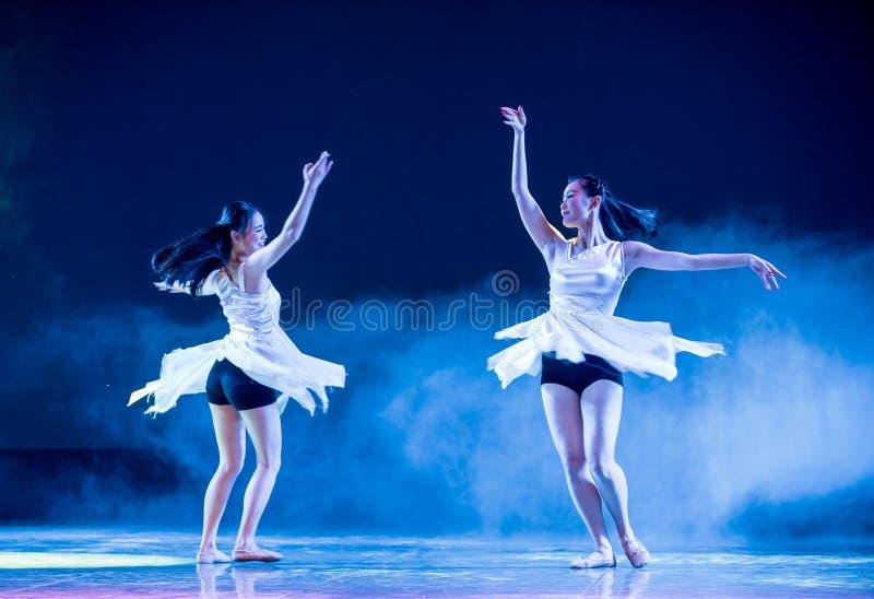 Sisters-Modern dance. Graduation performance of class5, grade 11, dancing department,Jiangxi Vocational Academy of Art on Dec30,2015 royalty free stock image