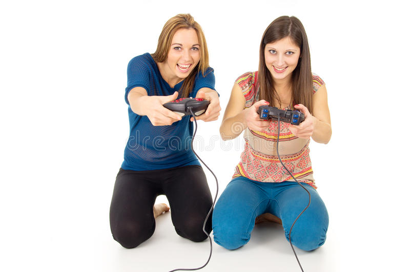 Download Sisters play video games stock image. Image of play, games - 28157881