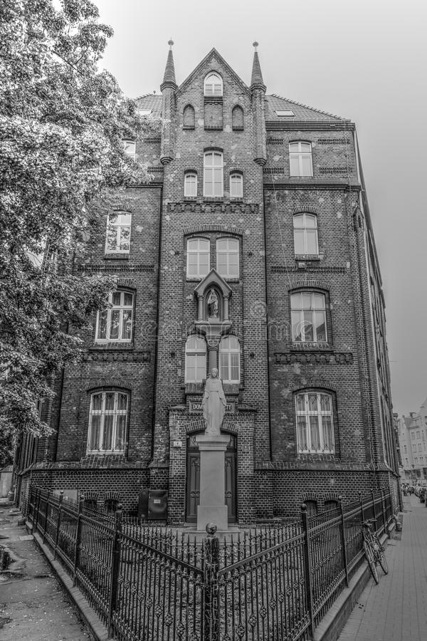 Sisters of Saint Elizabeth. POLAND, POZNAN - 28 JUNE 2015: Sisters of Saint Elizabeth Facade black and white photography royalty free stock images