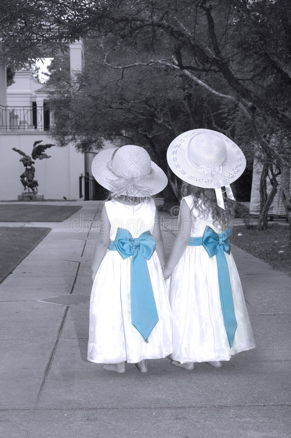 Download Sisters Sharing A Garden Wonderland Stock Image - Image: 1902145