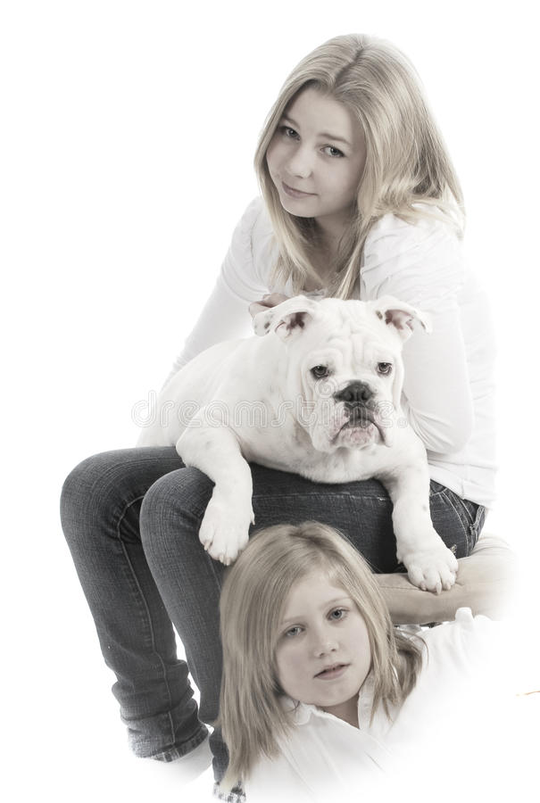 Sisters and their dog royalty free stock photos