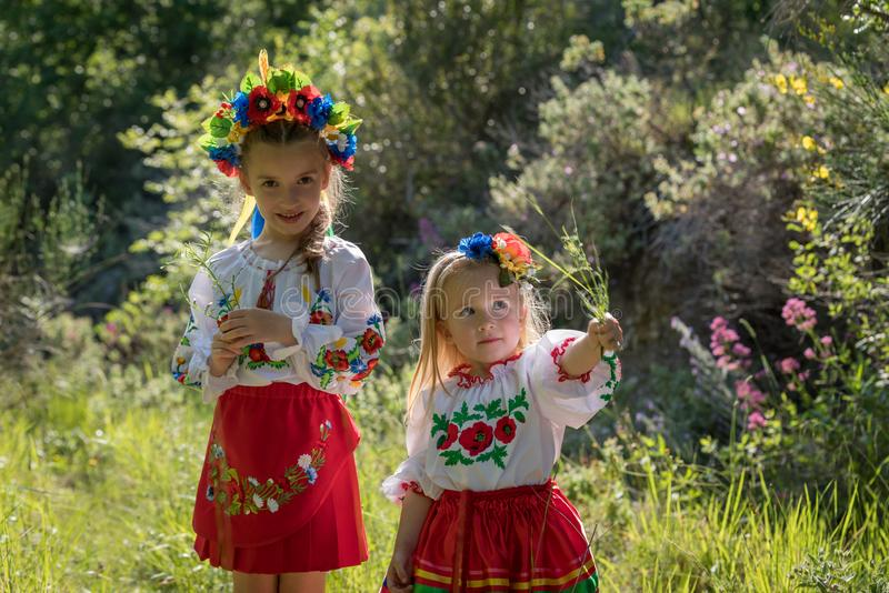 Sisters in Ukrainian national dress royalty free stock image