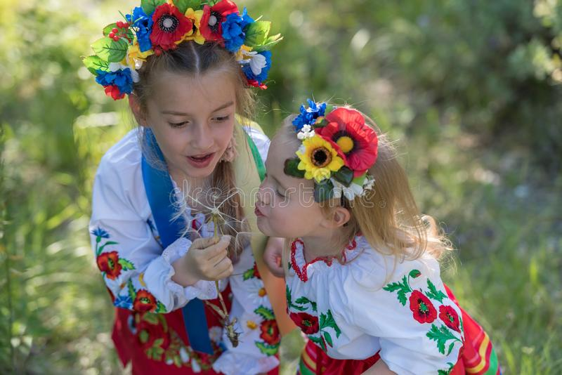 Sisters in Ukrainian national dress. Sisters in traditional Ukrainian costumes playing in the spring countryside royalty free stock photography