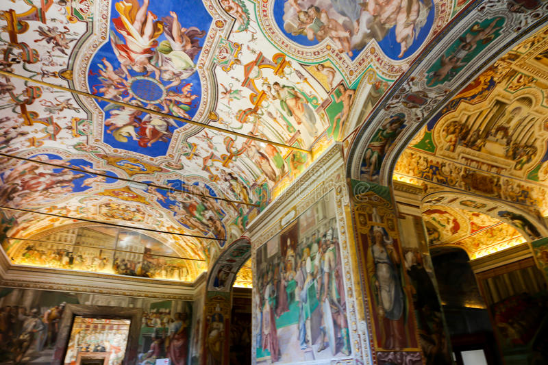 Sistine Chapel ( Cappella Sistina ) - Vatican, Roma - Italy. VATICAN CITY - April 27, 2015 paintings at Sistine Chapel ( Cappella Sistina ) - Vatican, Roma royalty free stock image