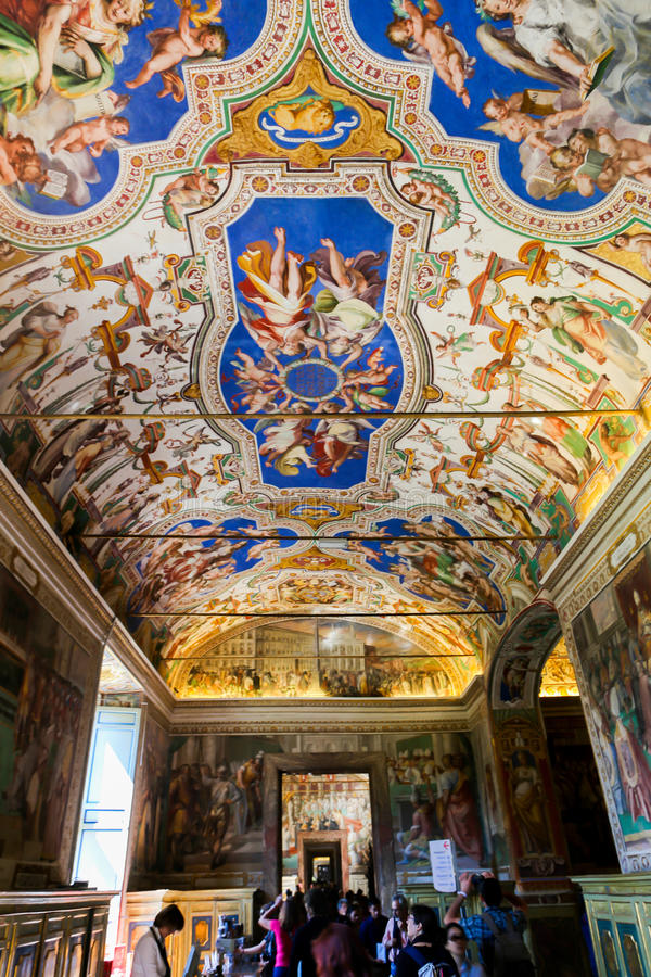 Sistine Chapel ( Cappella Sistina ) - Vatican, Roma - Italy. VATICAN CITY - April 27, 2015 paintings at Sistine Chapel ( Cappella Sistina ) - Vatican, Roma stock photos