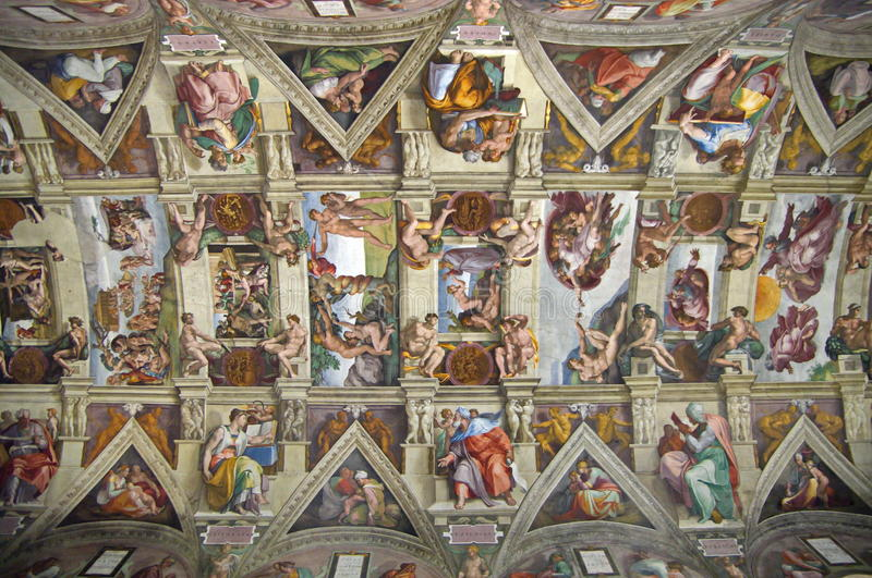Sistine Chapel Ceiling - landmark attraction in Vatican State royalty free stock photos
