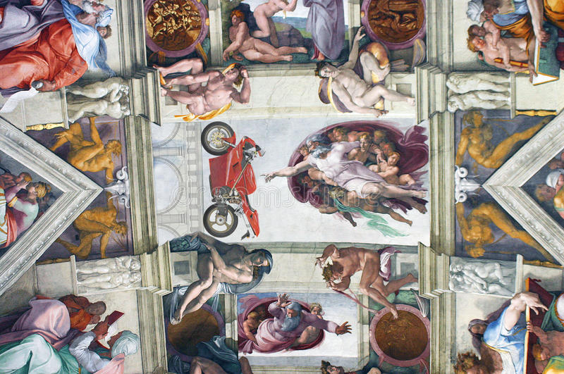Sistine Chapel with God pointing to a Ducati 916 motorcycle. Michael Angelo`s paintings in the Sistine Chapel in the Vatican in Rome. Adapted to show God stock photo