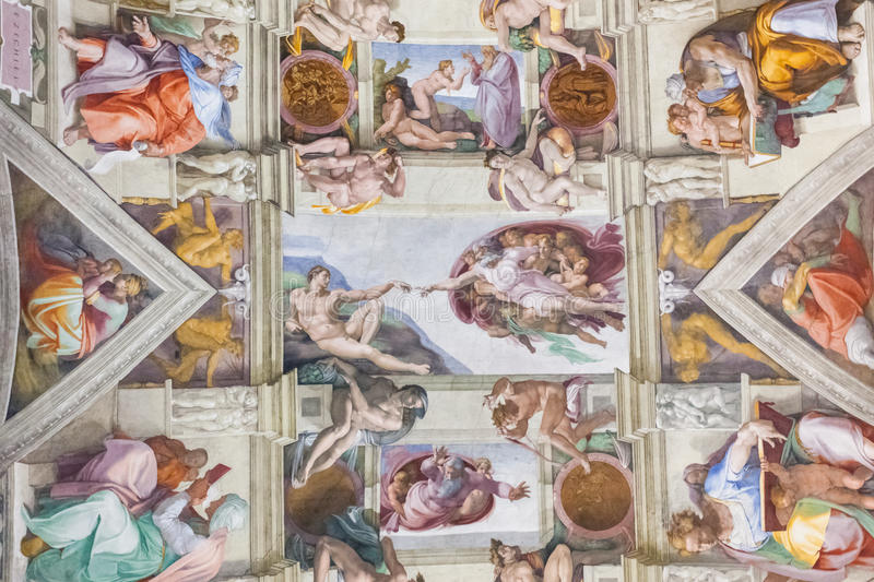 Sistine chapel, Vatican. Ceiling of the famous Sistine chapel painted by Michelangelo one of the best artists of all time
