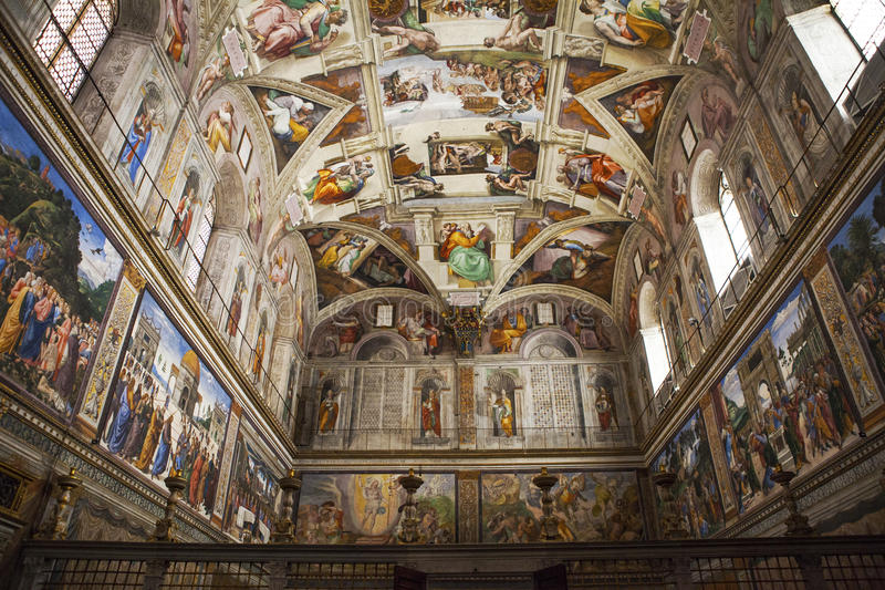 Sistine Chapel in Vatican. Interior and architectural details of the Sistine chapel, March 02, 2016, Vatican city, Rome stock photo