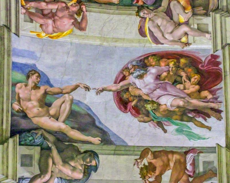 Sistine kaplica - Michelangelo bóg Tworzy Adam ilustracji