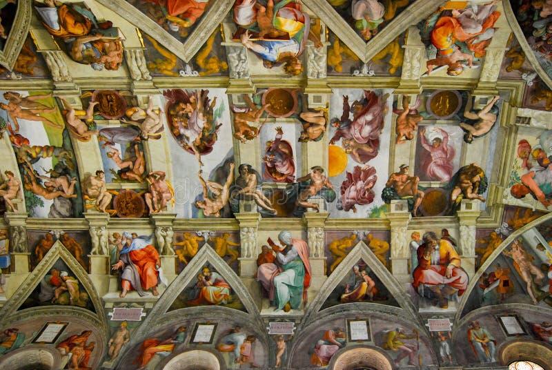 Sistine kaplica, sufit, watykan, Włochy fotografia royalty free
