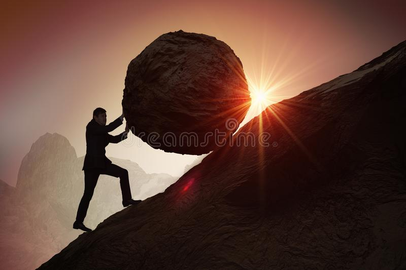 Sisyphus metaphore. Silhouette of businessman pushing heavy stone boulder up on hill royalty free stock image