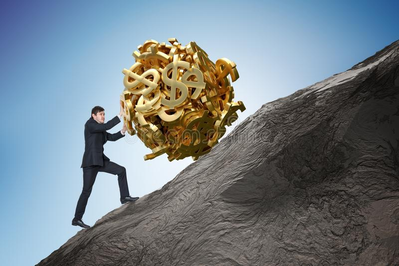 Sisyphus metaphore. Young businessman is maximizing earnings and pushing heavy boulder made of dollar symbol up on hill royalty free stock photo