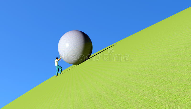 Sisyphus que rola um pedregulho imagens de stock royalty free
