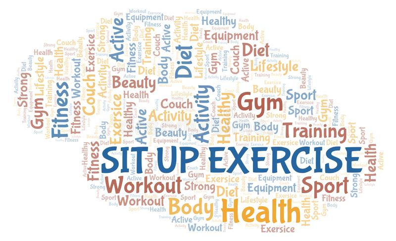 Sit Up Exercise-Wortwolke stock abbildung