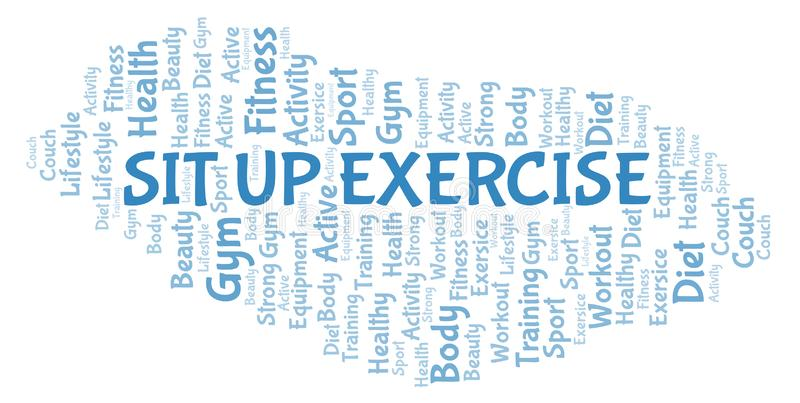 Sit Up Exercise-Wortwolke vektor abbildung