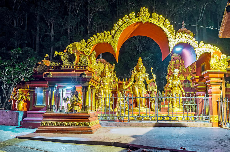 The Sita Temple in evening lights royalty free stock photo