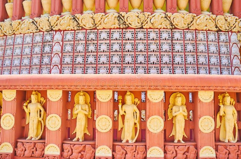 Sitagu国际佛教学院,实皆,缅甸塔外部  免版税图库摄影