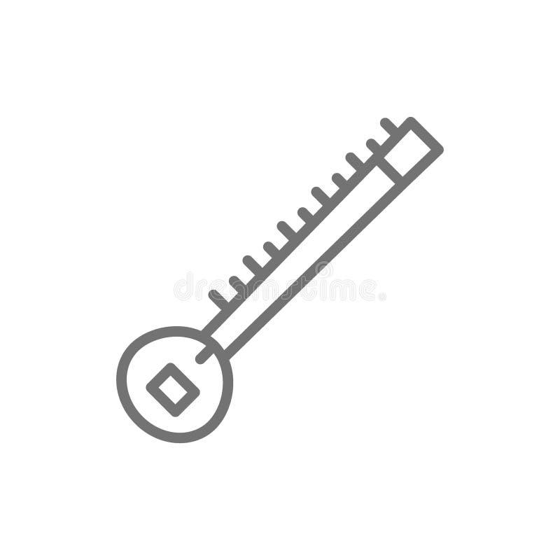 Sitar, línea india icono del instrumento musical stock de ilustración