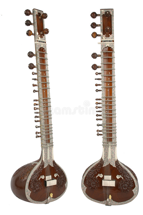 Sitar, a string instrument from India stock photography