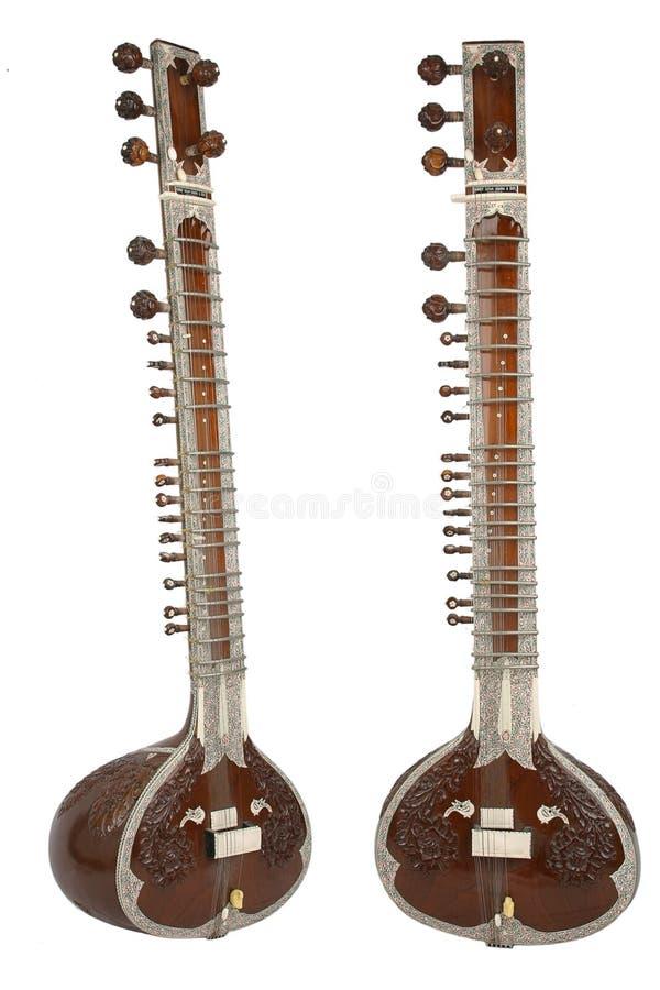 Sitar, un instrument de chaîne de caractères d'Inde photographie stock