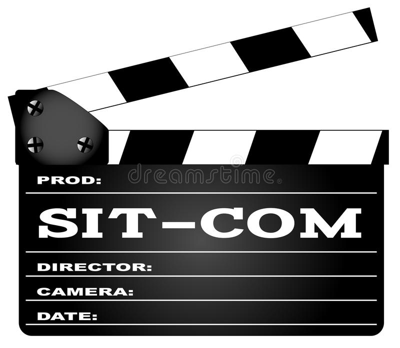 Sitcom Clapperboard. A typical movie clapperboard with the legend Sit Com isolated on white royalty free illustration