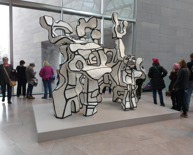 `Site à l`homme assis` by Jean Dubuffet, National Gallery of Art East Building, Women`s March, Washington, DC, USA. Women`s March on Washington, January 21 royalty free stock photos