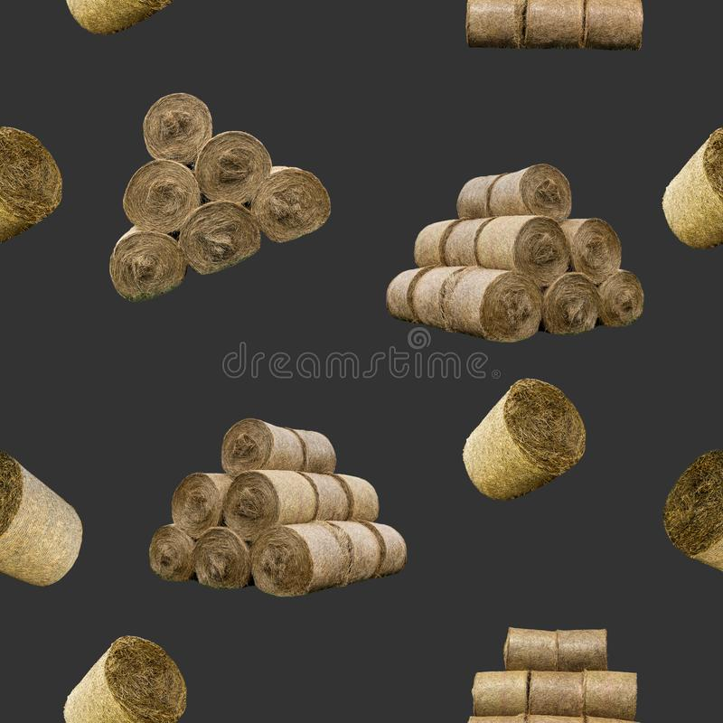 Raster seamless pattern. Straw bales and pyramids on a black background. vector illustration