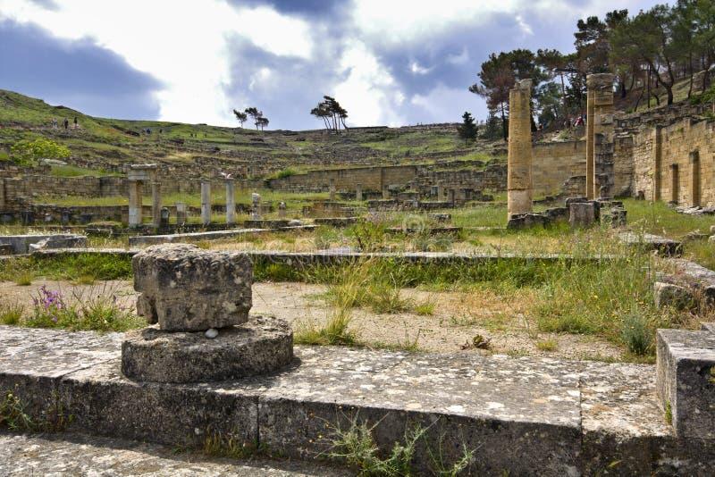 Site antique de Kamiros chez Rhodes photo libre de droits