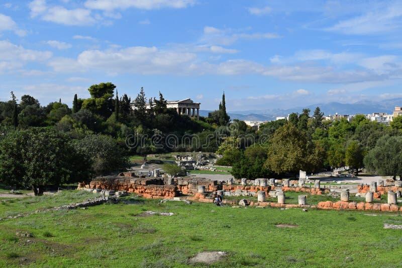 Site archéologique d'agora antique photos stock