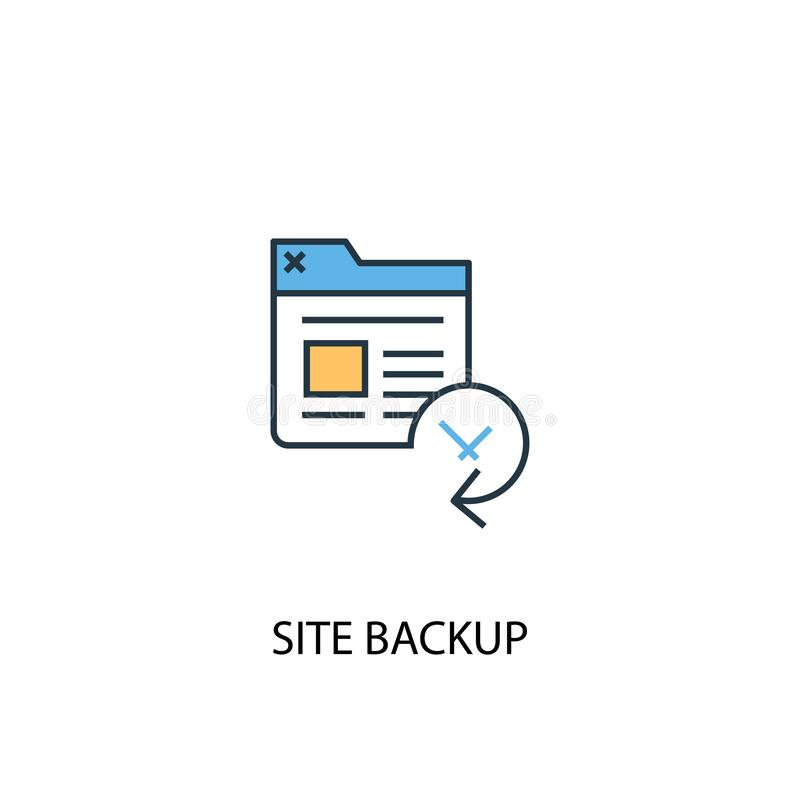 Site backup concept 2 colored line. Icon. Simple yellow and blue element illustration. Site backup vector illustration