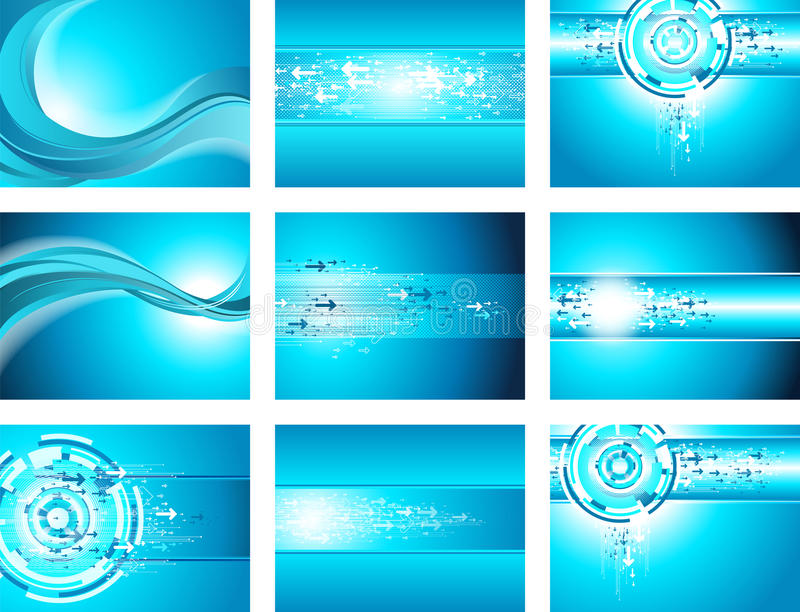 Site blue wave and arrow background collection stock illustration