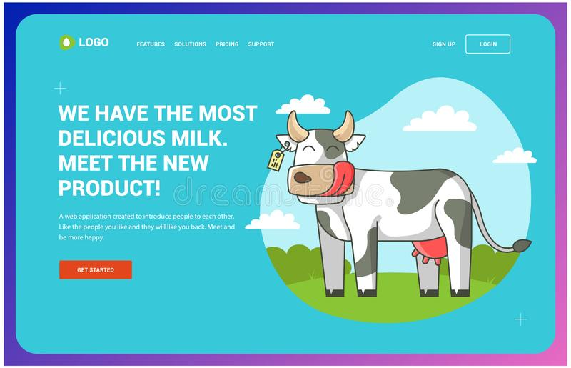 Site about cows which stands on the field inscribed in a circle. Web page. Site about cows which stands on the field inscribed in a circle. vector illustration vector illustration