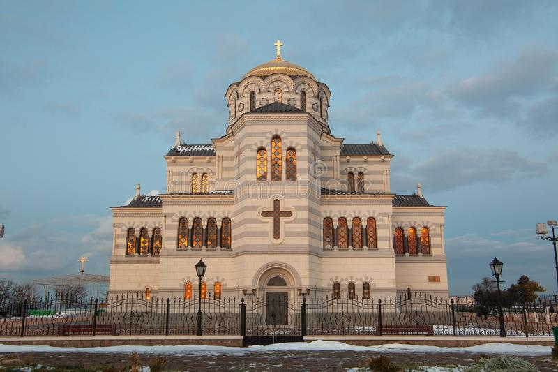 Site of Crimea, Saint Vladimir`s cathedral - symbol of Hersones in Sevastopol stock image