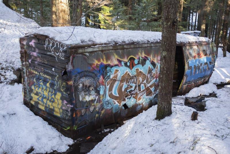 Site d'épave de train de Whistler avec la voiture de rail peinte par graffiti image libre de droits