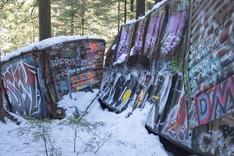Site d'épave de train de Whistler avec les voitures de rail peintes par graffiti photographie stock
